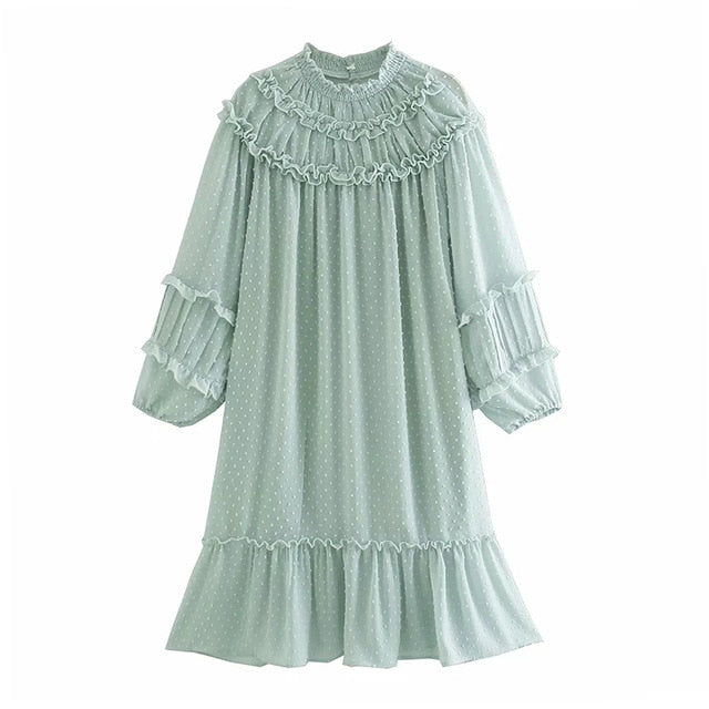 Swiss dot ruffle loose tunic top