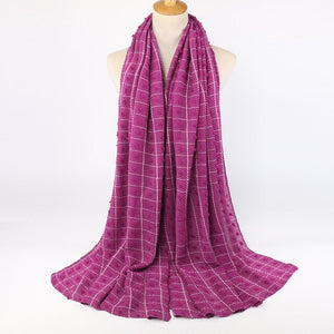 Pompom plaid ripple Hijabs (15 colors)