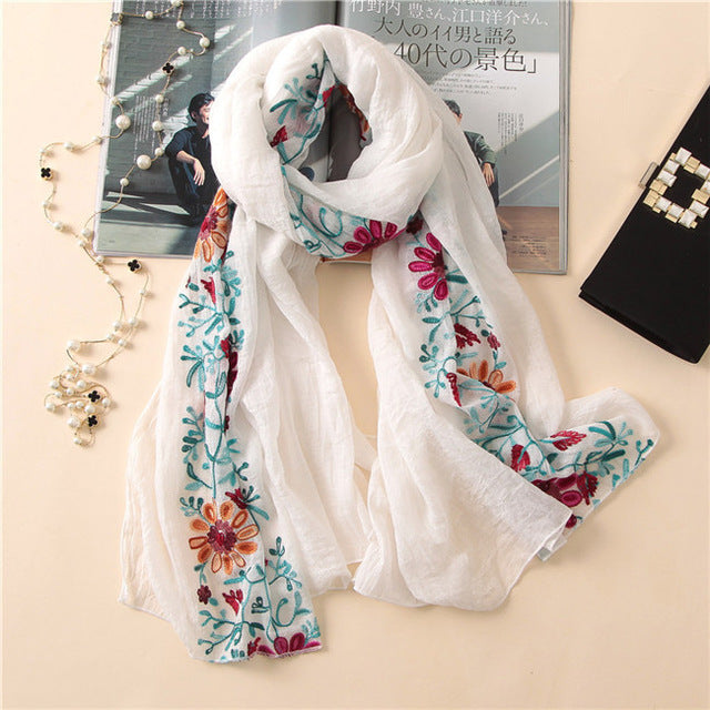 Floral embroidered Viscose Scarf (15 colors)