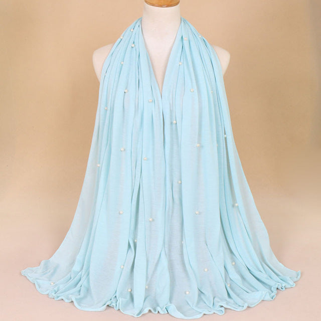 Plain  Soft Jersey with Beads Scarf (21 colors)