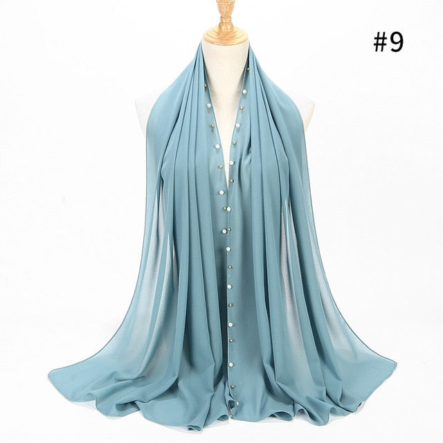 Chiffon with golden beads Scarf (20 colors)