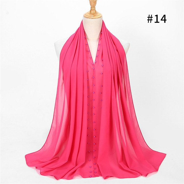 Colored Pearl chiffon Scarf (20 colors)