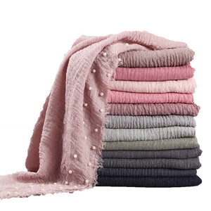 Edge Pearl Soft Crinkle Scarf (55 Colors)