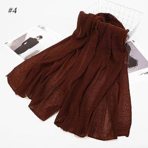Cotton blend Crinkle Scarf (19 colors)
