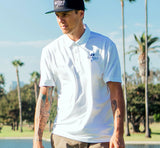 Send it golf premium embroidered white polo shirt. Sendit