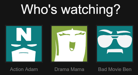 Different Netflix profiles (Action Adam, Drama Mama, Bad Movie Ben)