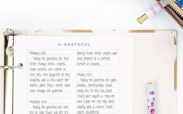 Free printable gratitude journal from Muscadine Press.