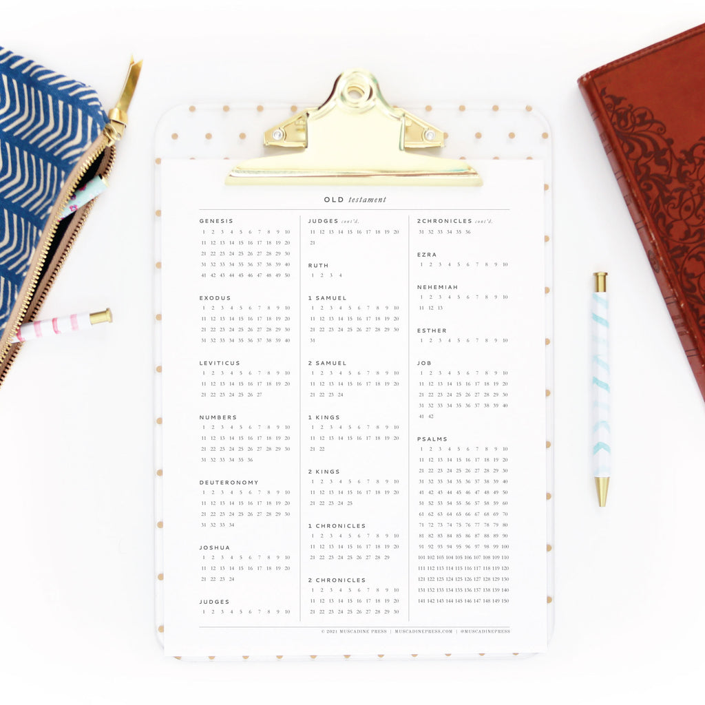 Free Printable Scripture Reading Tracker from Muscadine Press