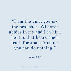 I am the vine. You are the branches. This verse is at the heart of what we do here at Muscadine Press.