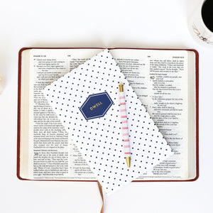 Navy Dot Dwell Journal with gold foil imprint from Muscadine Press. A guided 30-day quiet time journal to draw you closer to God and deeper into His Word.