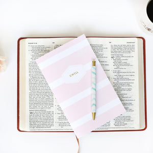 Pink Stripe Dwell Journal from Muscadine Press, a 30-Day Guided Bible Study Journal designed to help you make the most of your quiet time.