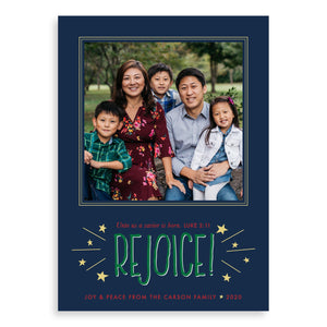 Rejoice! Joyful Christian photo cards from Muscadine Press.