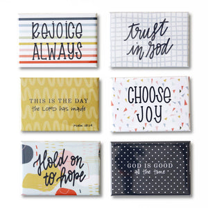 Meaningful Magnet Set from Muscadine Press. A simple reminder to choose joy, remember truth, and trust God.