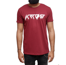 ACECOAST - Classic White print on Burgundy T-shirt
