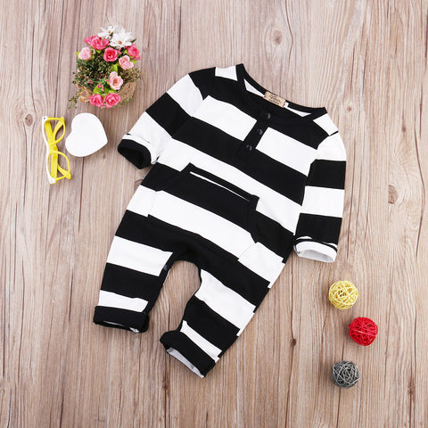 Image of Striped Cotton Romper