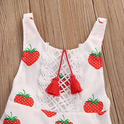 Image of Strawberry Tassel Romper
