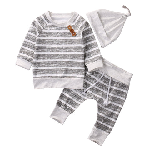 Image of Gray Striped 3pc Set