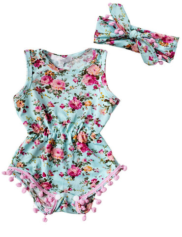 Image of Floral Romper with Headband
