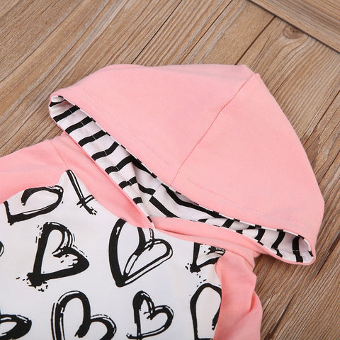 Image of Heart Print Hooded Set