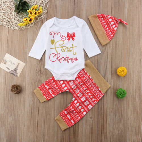 My 1st Christmas Baby Girl Red Set