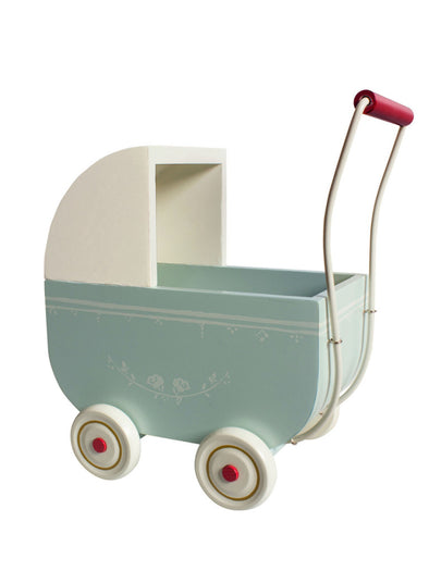 Maileg Wooden Pram for My Baby Light Blue