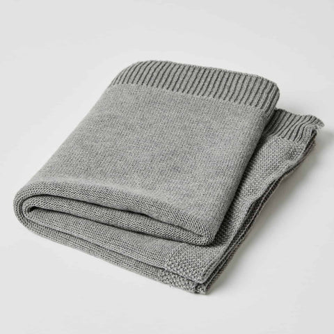 Grey cotton knit baby blanket by Jiggle & Giggle