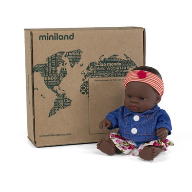 Miniland Doll African Girl 21cm with outfit