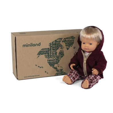 Miniland 38cm Caucasian Boy Doll with  clothing