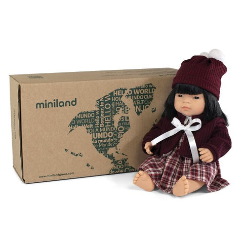 Miniland Doll Asian Girl and Outfit 38cm