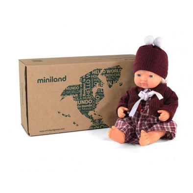 Miniland 38cm Caucasian Doll with a set of clothing