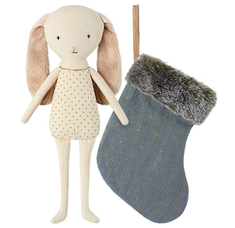 Maileg Angel Bunny in Stocking Blue