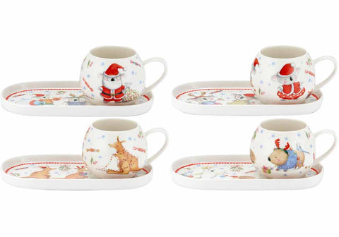 Barney Gumnut Christmas mug and plate set