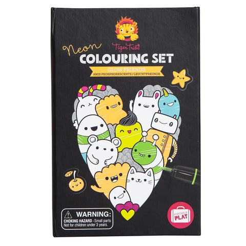 Tiger Tribe Neon Colouring Set Glow Friends