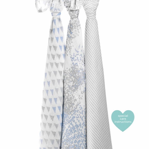 Aden & Anais Metallic Blue Moon Birch Silky Soft Swaddles