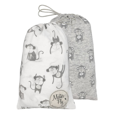 Mister Fly Monkey Bassinet Sheets Twinpack