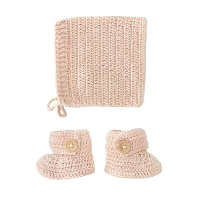 Hand crocheted bonnet and booties set in peach colour.