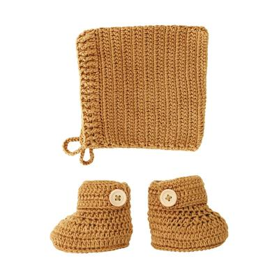 Cinnamon Crochet Bonnet & Booties Set
