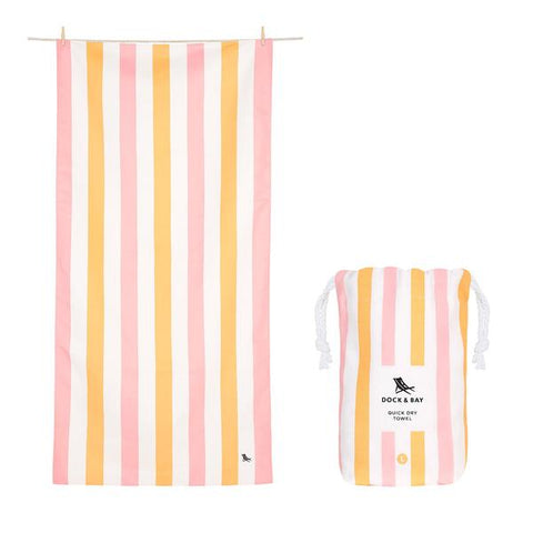 Dock and Bay beach towel Peach Sorbet pink and apricot stripe