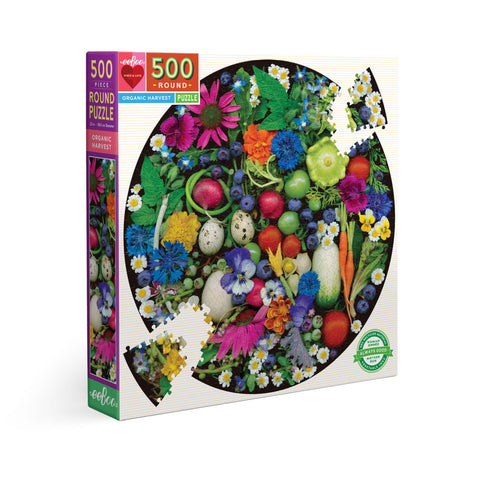 Eeboo 500 piece round puzzle called Organic Harvest