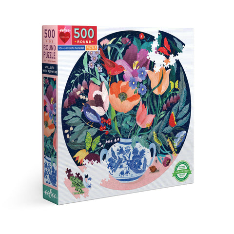 Eeboo 500 piece round puzzle called Still Life Flowers