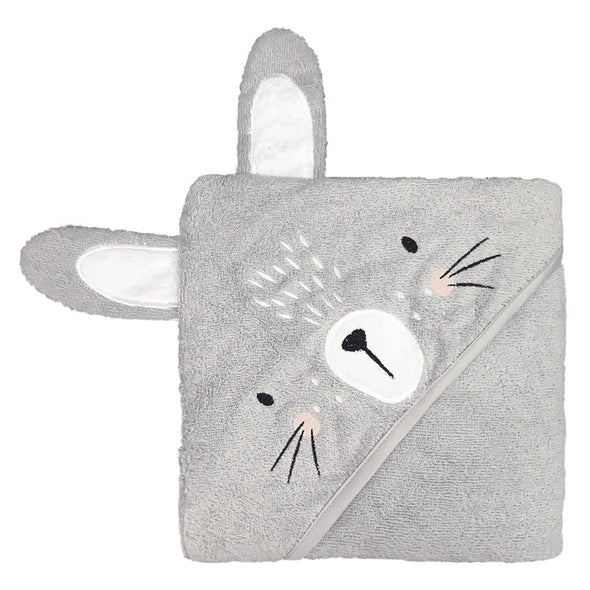 Mister Fly Hooded Towel Grey Bunny