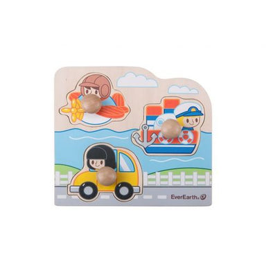 Everearth Wooden Vehicles Peg Puzzle