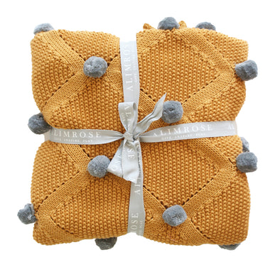 Alimrose Pom Pom Blanket Mustard and grey