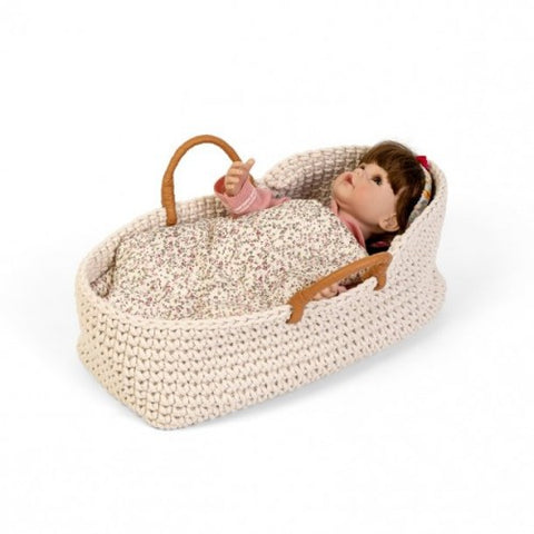 Knitted doll basket with doll