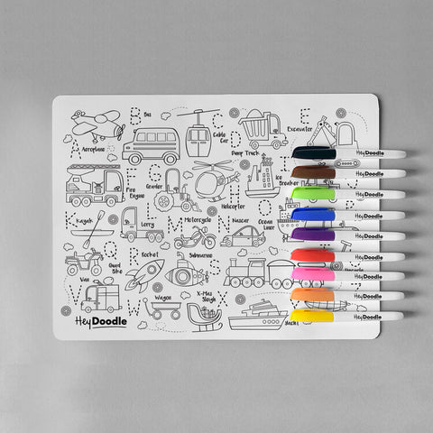 Hey Doodle Silicone Placemat with transport theme