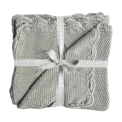 Alimrose Moss Knit Blanket Grey