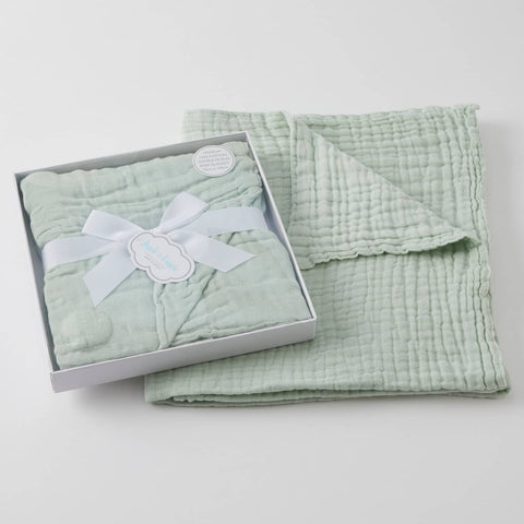 Sage double muslin cotton blanket by Jiggle and Giggle