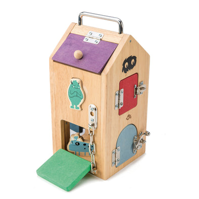 Wooden Lock Box with monster shape sorter