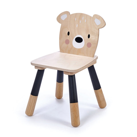 Wooden toddler chair with bear face backrest