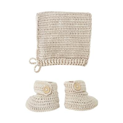 Hand crocheted bonnet and booties set in vanilla colour.